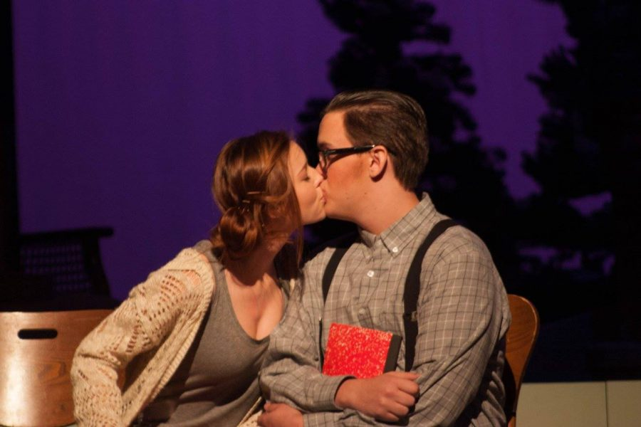 Cast members Ian Rowzee and Kendall Mesch share an unexpected kiss in Almost, Maine. Photo courtesy of Jenna Shedd.