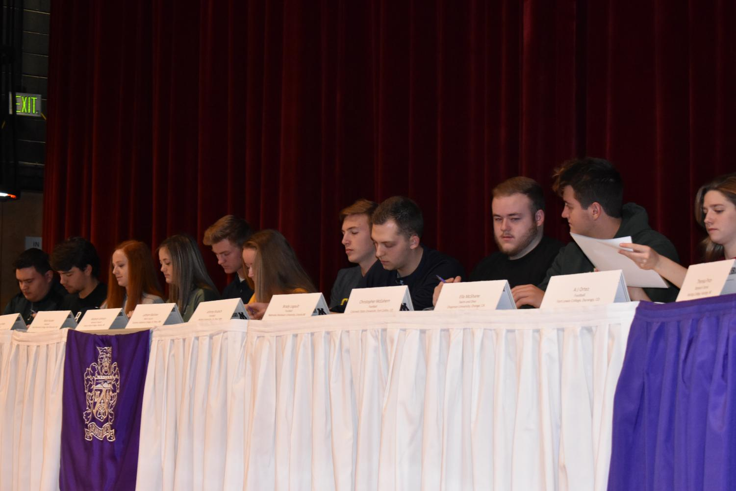 A-West athletes sign their letters of intent.