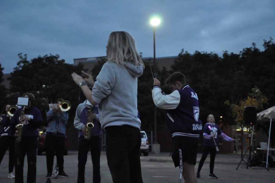 Marching band plays the A-West fight song and other crowd favorites to start off the bonfire.