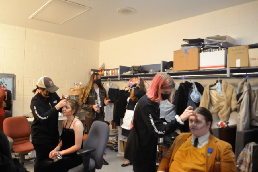 Hair, Makeup, and Costuming Crew prepare cast members for their last dress rehearsal.